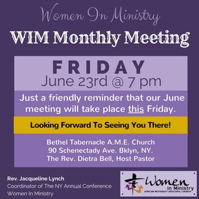 NY AME Women In Ministry Monthly Meeting